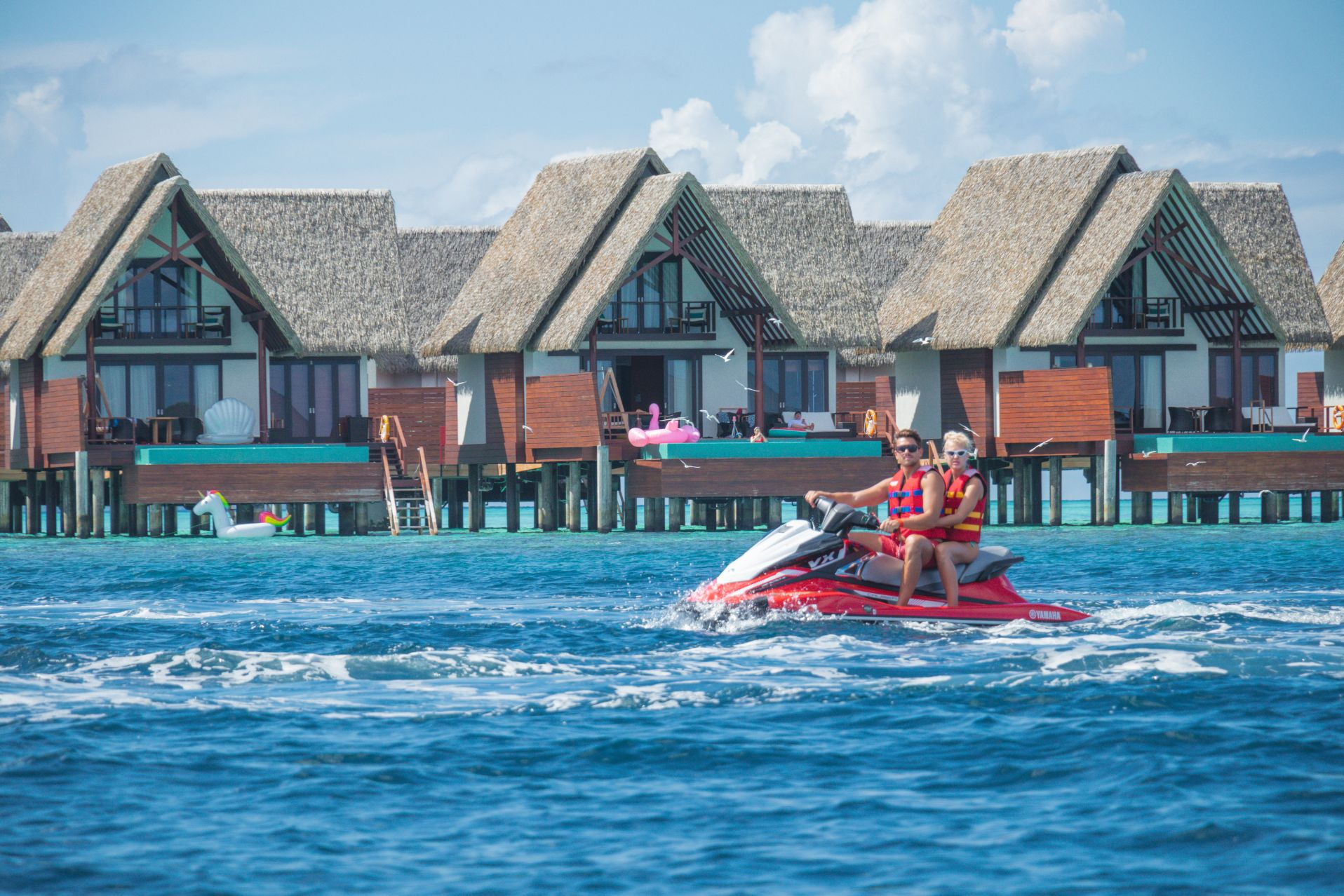 A couple experiences Jet Skiing at Heritance Aarah