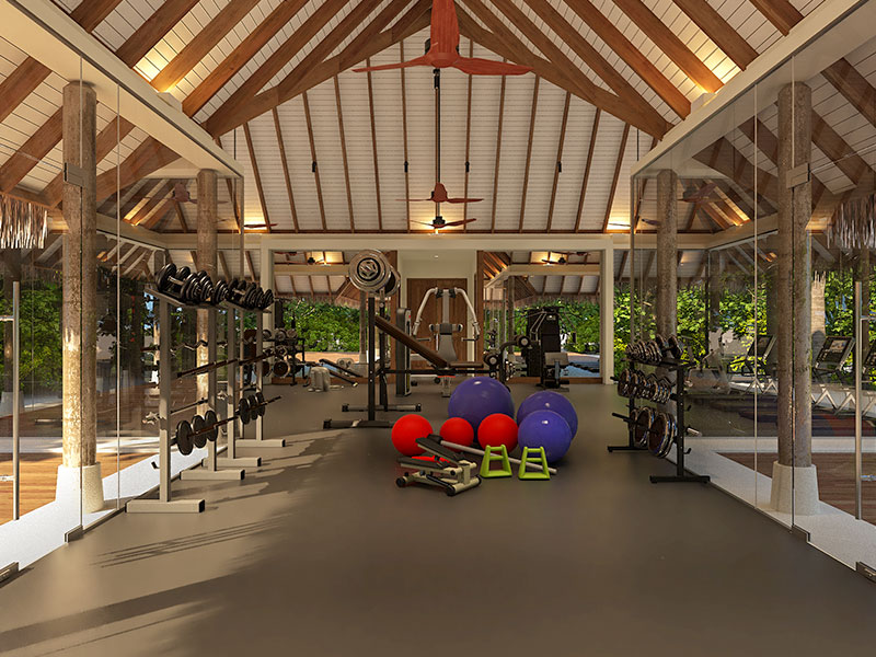 Interior of Heritance Aarah Gym in Maldives