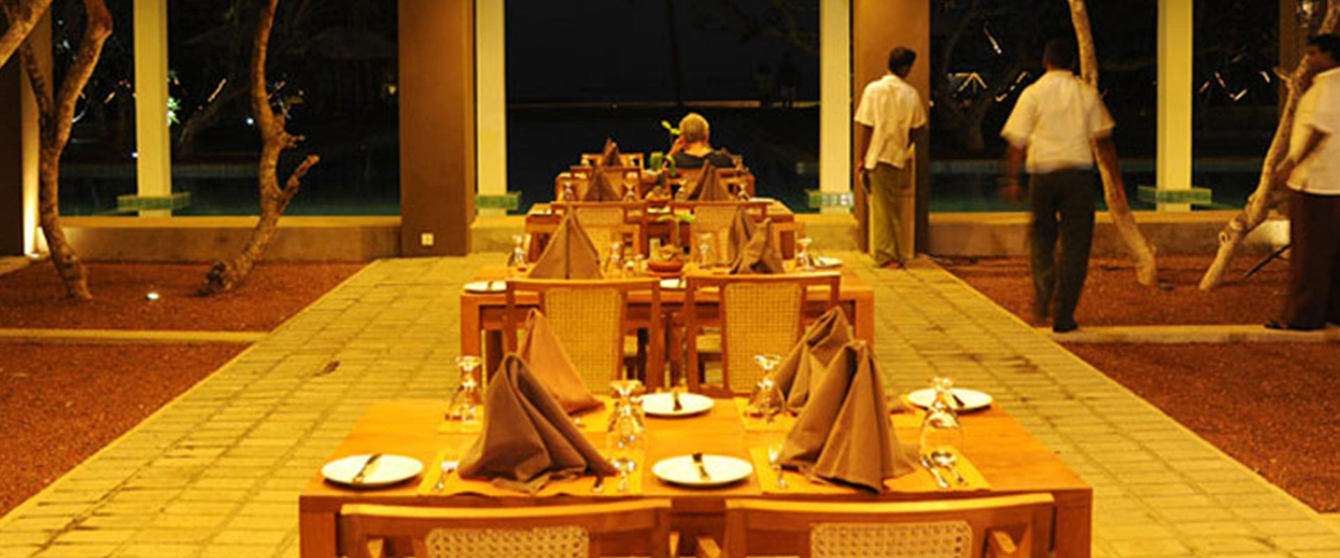 Dining hall table arrangement at Heritance Ayurveda