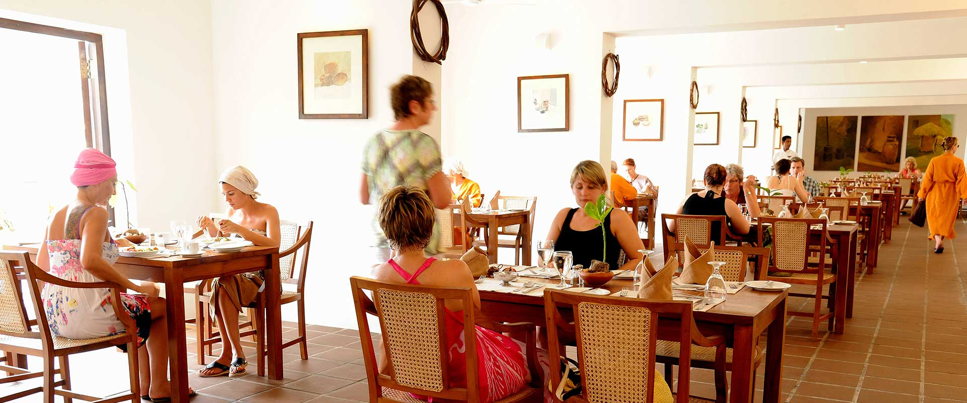 Foreign ladies dining in Heritance Ayurveda