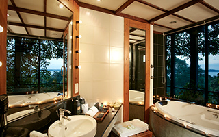 Suite Bathroom at Heritance Kandalama with a view